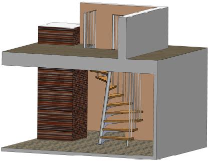 Metāldarbnīca 1-kv.m-kāpnes-vietu-taupošas 1m² kāpnes